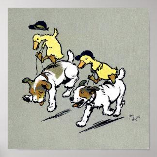 patos del Perro-montar a caballo Póster