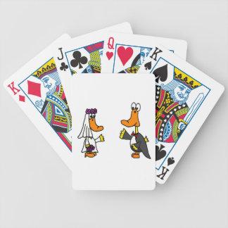 Patos divertidos novia y dibujo animado del boda baraja de cartas