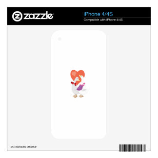 Patos en amor iPhone 4 calcomanía