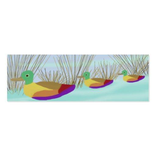 Patos en la señal del agua tarjetas de visita