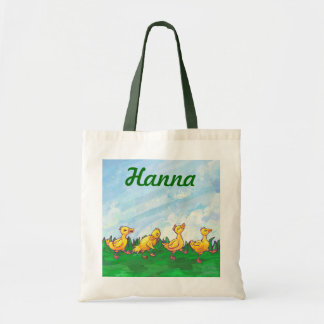 Patos en una bolsa de asas personalizada fila
