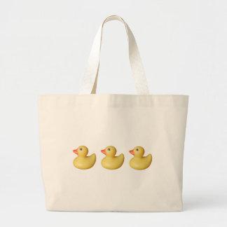 Patos en una fila bolsas lienzo