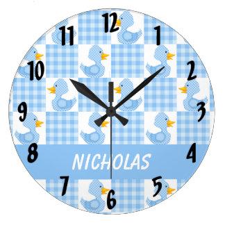 Patos lindos (azules) reloj redondo grande