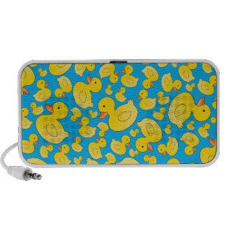 Patos lindos del caucho del azul de cielo laptop altavoces