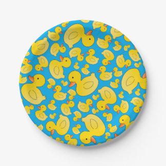 Patos lindos del caucho del azul de cielo platos de papel
