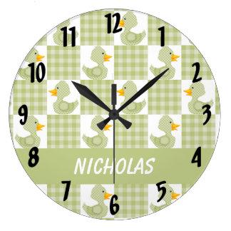 Patos lindos (verde) reloj redondo grande
