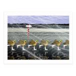 Patos patinadores para el navidad tarjetas postales