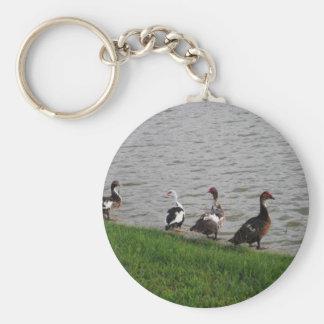Patos por un lago llaveros personalizados