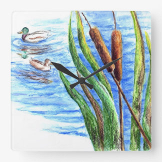 Patos silvestres y Cattails - lápiz de la acuarela Reloj