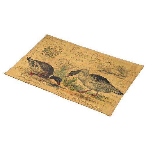 Patos silvestres y collage del cisne mantel individual