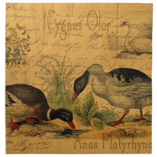 Patos silvestres y collage del cisne servilleta imprimida