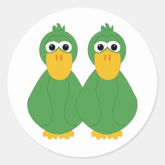 Patos verdes torpes etiqueta redonda