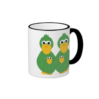 Patos verdes torpes y 2 bebés tazas de café