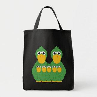 Patos verdes torpes y 5 bebés bolsas lienzo