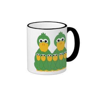Patos verdes torpes y 6 bebés tazas