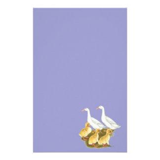 Patos y anadones blancos papelería personalizada