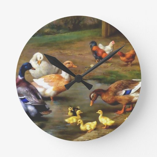 Patos y anadones reloj redondo mediano