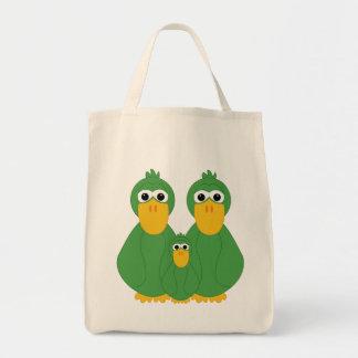 Patos y bebé verdes torpes bolsa de mano