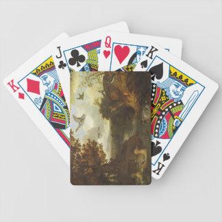 Patos y otros pájaros sobre una corriente en un it baraja cartas de poker