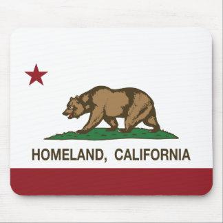 Patria de la bandera de la república de California Alfombrilla De Ratones