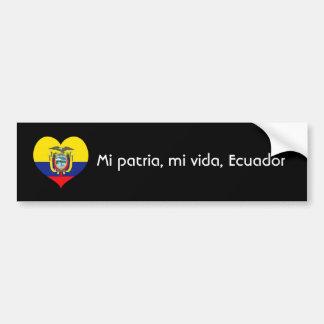 Patria del MI, vida del MI, Ecuador Pegatina Para Auto