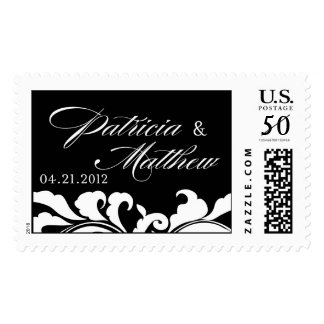Patricia and Matthew Black and White Vintage swirl Postage