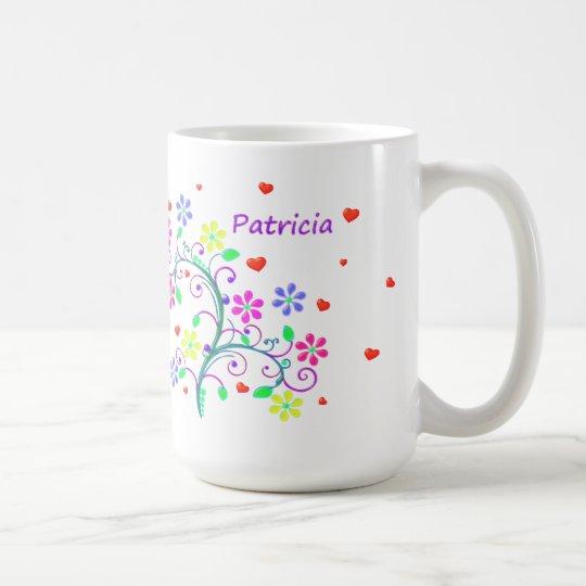 Patricia, Flowers, Hearts, Swirls - We *Heart* You Coffee Mug
