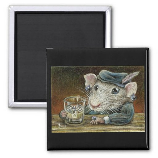 Patricia the rat 2 inch square magnet