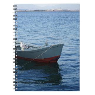 Patriciapotluck bird blue water boat notebook