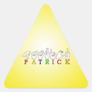 PATRICK FINGERSPELLED ASL NAME SIGN TRIANGLE STICKER