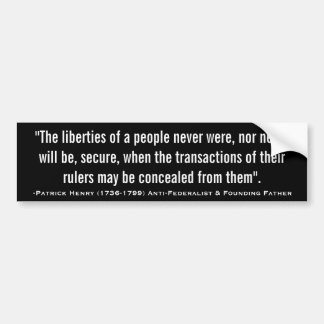 Patrick Henry LIBERTIES NOT SECURE Quote Car Bumper Sticker