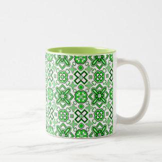 Patrick Pattern Rich Green Two-Tone Coffee Mug
