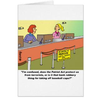 PATRIOT ACT / BANK ROBBERY GREETING CARD