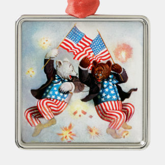 Patriot Bear Celebrate the Fourth of July Metal Ornament