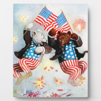 Patriot Bear Celebrate the Fourth of July Display Plaques