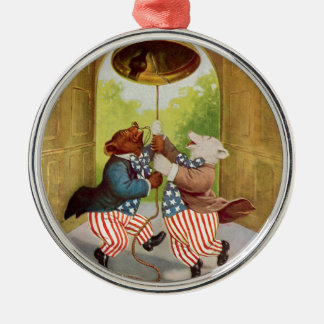 Patriot Bears Ring the Liberty Bell Metal Ornament