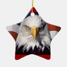 Patriot Eagle And Flag Ceramic Ornament at Zazzle