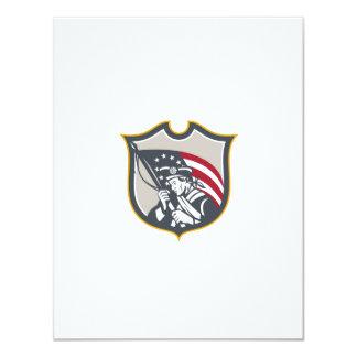 Patriot Holding American Flag Shield Retro Announcement