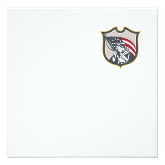 Patriot Holding American Flag Shield Retro Custom Invitation