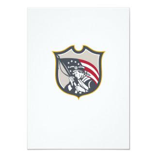 Patriot Holding American Flag Shield Retro Personalised Invitations