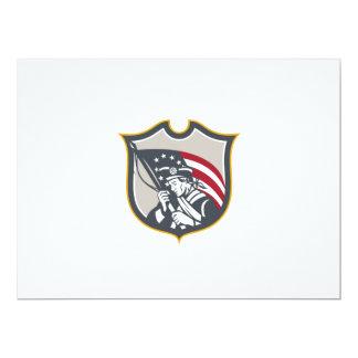 Patriot Holding American Flag Shield Retro Custom Announcement