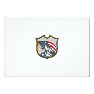 Patriot Holding American Flag Shield Retro Invites