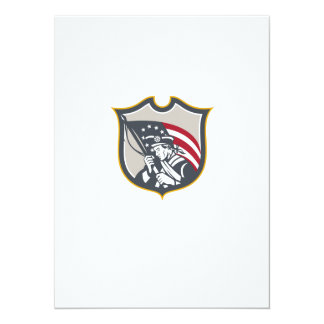 Patriot Holding American Flag Shield Retro Personalised Announcement