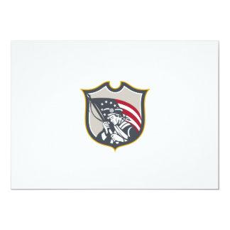 Patriot Holding American Flag Shield Retro Custom Invites