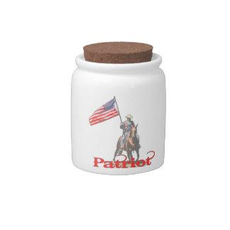 Patriot on horseback 2 candy jars