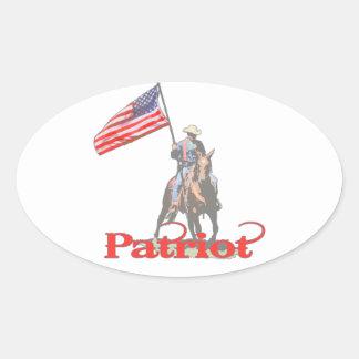 Patriot on horseback 2 oval sticker