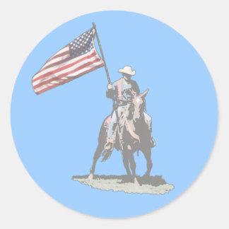Patriot on horseback classic round sticker