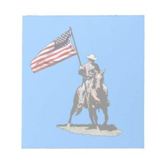 Patriot on horseback note pads
