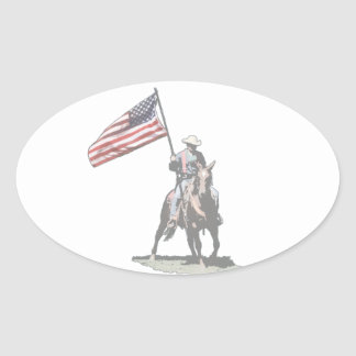 Patriot on horseback oval sticker