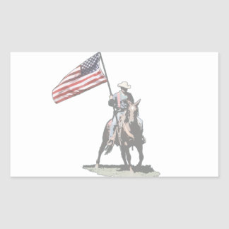 Patriot on horseback rectangular sticker